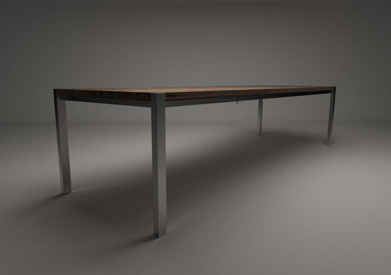 Design Tisch Annabell Nummer 4 aus Holz Metall Nussbaum-Holz by Sebastian Bohry