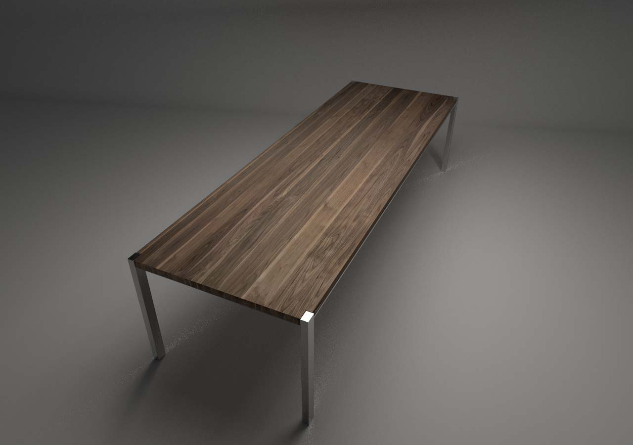 Design Tisch Annabell Nummer 4 aus Edelstahl Nussbaum-Holz by Sebastian Bohry