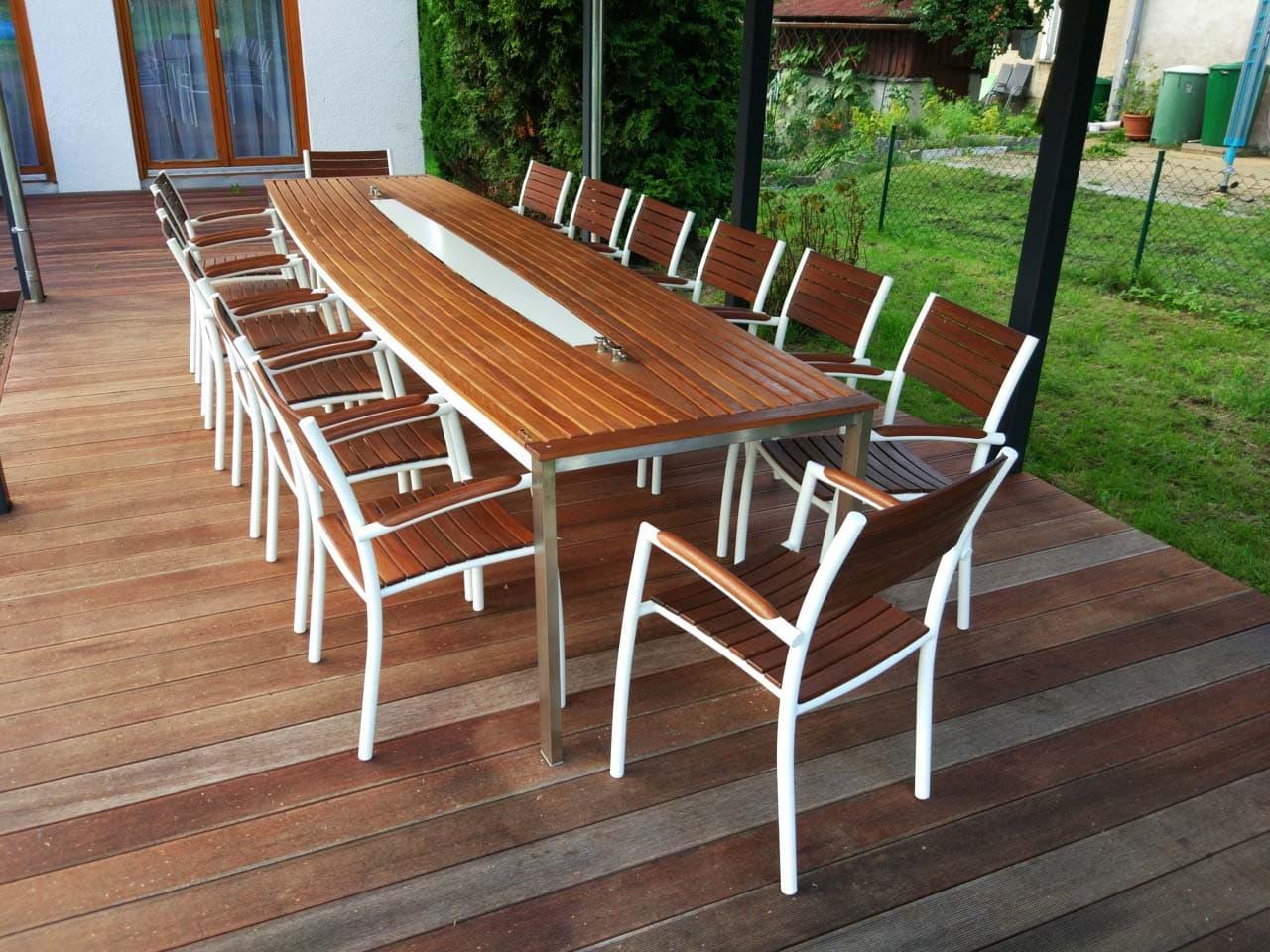 Design Tisch Sealine Nummer 6 aus Metall Holz Teak by Sebastian Bohry timeless design