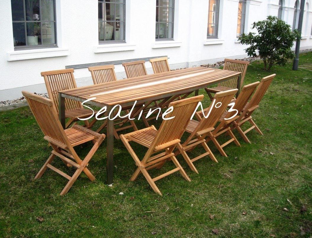 Design Tisch Sealine Nummer 3 aus Holz Metall Teak Edelstahl by Sebastian Bohry timeless design