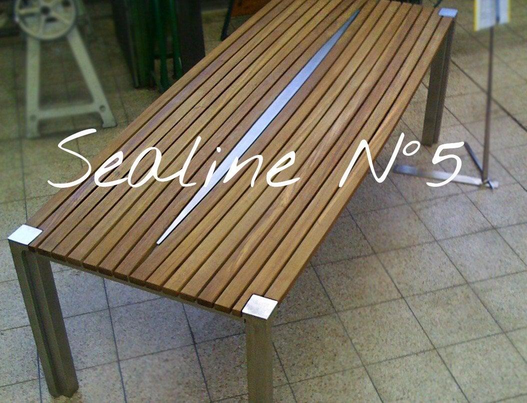 Design Tisch Sealine Nummer 5 aus Holz Metall Edelstahl by Sebastian Bohry timeless design
