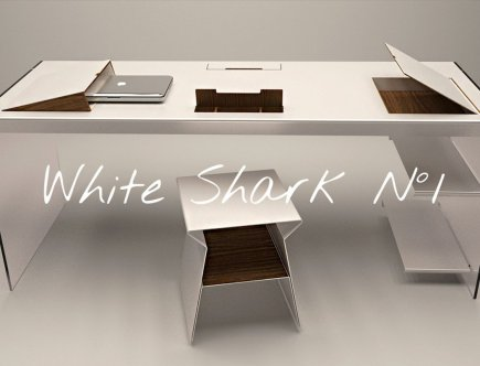 Design Tisch White Shark Nummer 1 aus Holz Metall Glas by Sebastian Bohry timeless design